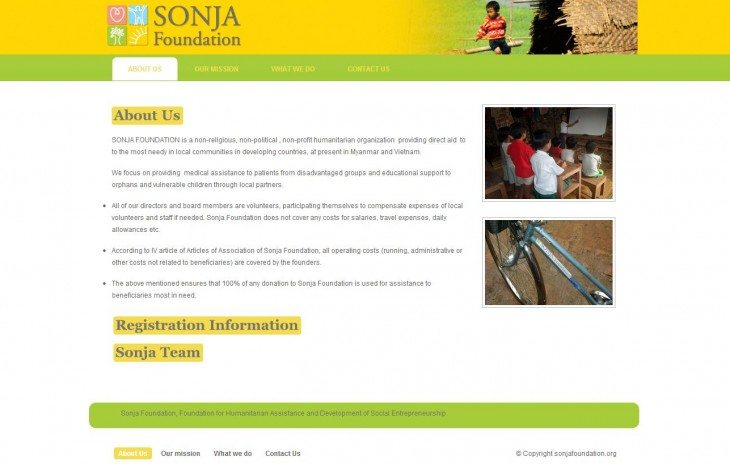 Sonja Foundation – old site